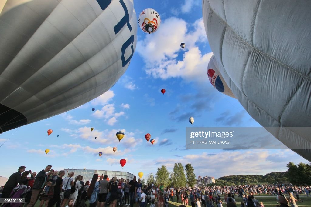 Hot Air Balloons Prepare To Fly Over Kaunas Lithuania During The International 100