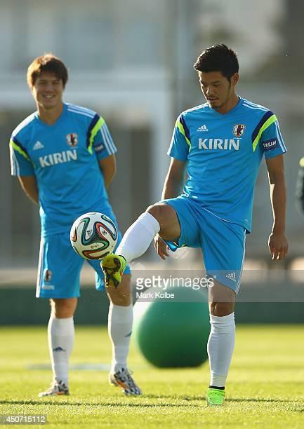 Hotaru Yamaguchi kicks during a Japan training session at the Japan national team base camp at the Spa Sport Resort on June 16 2014 in Itu Sao Paulo