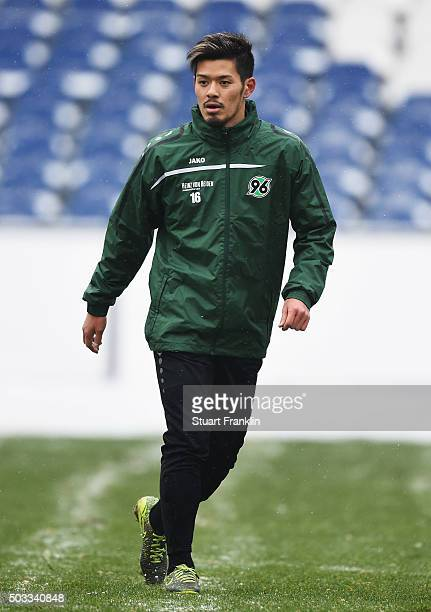 Hotaru Yamaguchi of Hannover 96 during training prior to a press conference to announce his joining of Hannover 96 on January 4 2016 in Hanover...