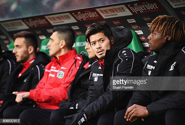 Hotaru Yamaguchi of Hannover looks on during the Bundesliga match between Hannover 96 and SV Darmstadt 98 at HDIArena on January 23 2016 in Hanover...