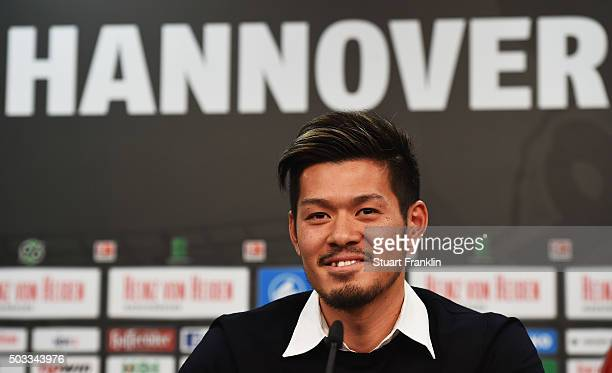 Hotaru Yamaguchi of Hannover talks with the media during a press conference to announce his joining of Hannover 96 on January 4, 2016 in Hanover,...