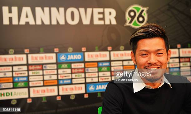 Hotaru Yamaguchi of Hannover talks with the media during a press conference to announce his joining of Hannover 96 on January 4 2016 in Hanover...