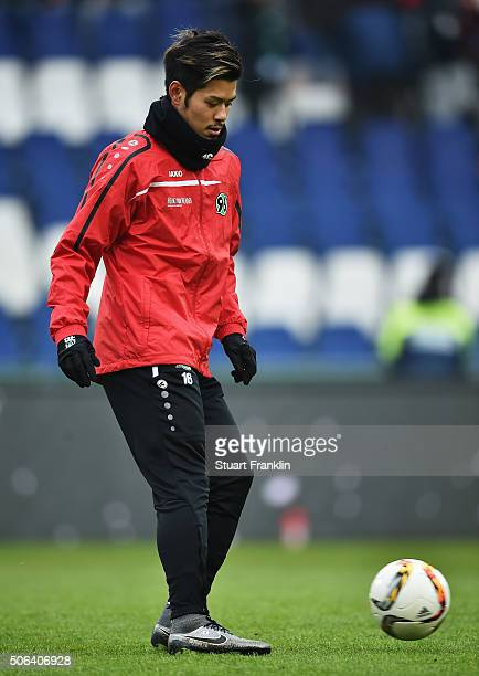 Hotaru Yamaguchi of Hannover warms up during the Bundesliga match between Hannover 96 and SV Darmstadt 98 at HDIArena on January 23 2016 in Hanover...