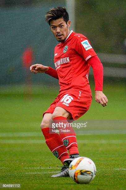 Hotaru Yamaguchi of Hanover controls the ball during a friendly match between Hannover 96 and SV WehenWiesbaden during Hannover 96 training camp on...