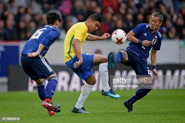 Hotaru Yamaguchi of Japan Gabriel Jesus of Brazil Yosuke Ideguchi of Japan during the International Friendly match between Japan v Brazil at the...