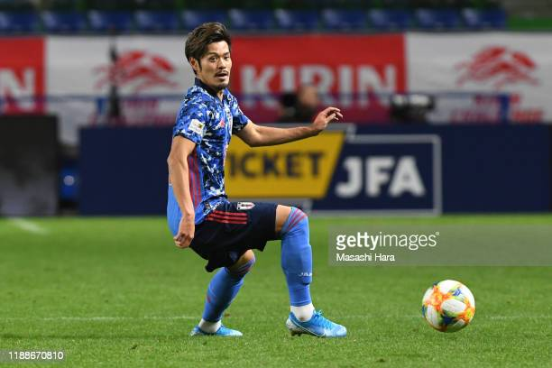 Hotaru Yamaguchi of Japan in action during the international friendly match between Japan and Venezuela at the Panasonic Stadium Suita on November...