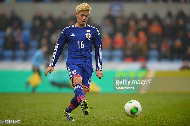 Hotaru Yamaguchi of Japan in action during the International Friendly match between the Netherlands and Japan on November 16 2013 in Genk Belgium