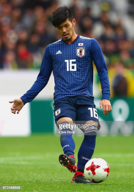 Hotaru Yamaguchi of Japan in action during the international friendly match between Brazil and Japan at Stade PierreMauroy on November 10 2017 in...