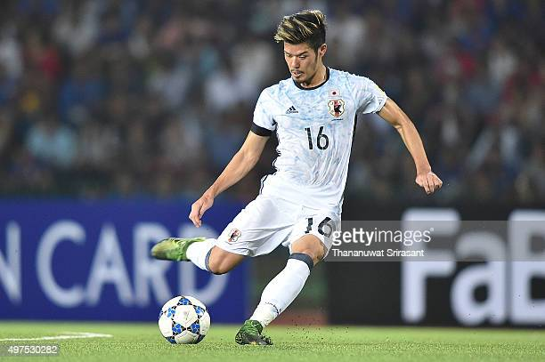 Hotaru Yamaguchi of Japan kicks the ball during the 2018 FIFA World Cup Qualifier match between Cambodia and Japan on November 17 2015 in Phnom Penh...