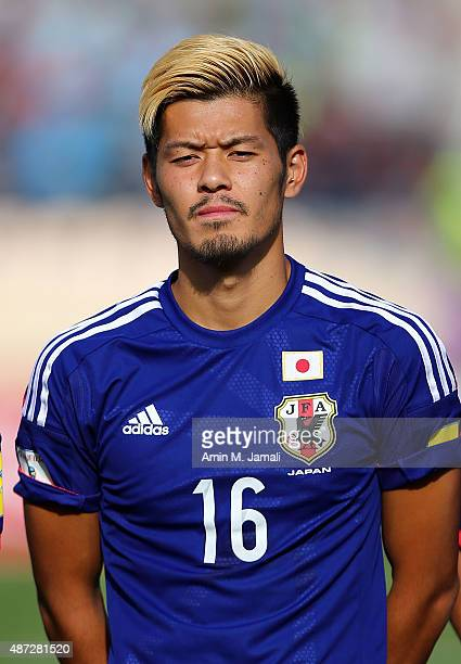 Hotaru Yamaguchi of Japan looks on ahead of the 2018 FIFA World Cup Russia qualifier against Afghanistan at Azadi Stadium on September 8 2015 in...