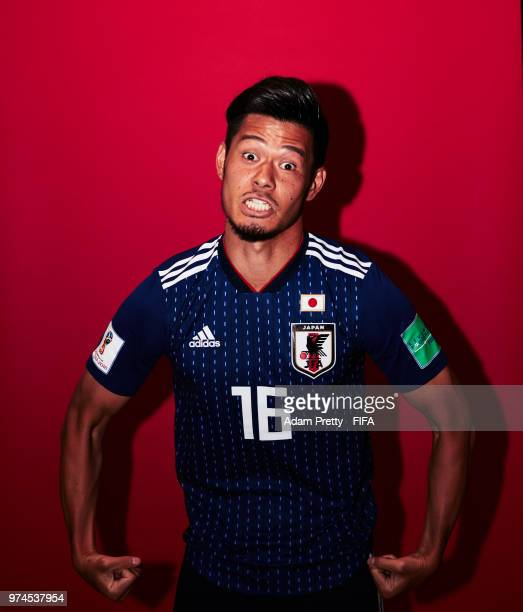 Hotaru Yamaguchi of Japan poses for a portrait during the official FIFA World Cup 2018 portrait session at the FC Rubin Training Grounds on June 14...