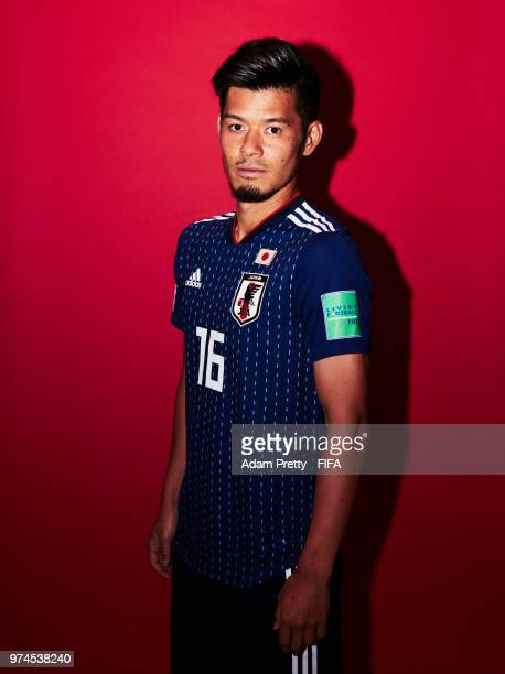 Hotaru Yamaguchi of Japan poses for a portrait during the official FIFA World Cup 2018 portrait session at the FC Rubin Training Grounds on June 14,...