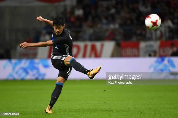 Hotaru Yamaguchi of Japan shoots at goal during the international friendly match between Japan and New Zealand at Toyota Stadium on October 6, 2017...