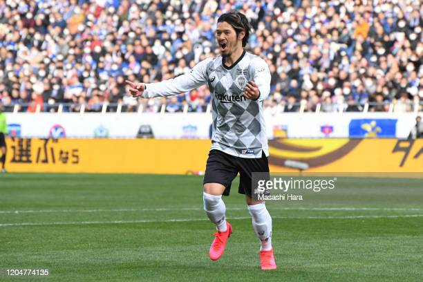 Hotaru Yamaguchi of Vissel Kobe celebrates the third goal during the Xerox Super Cup between Yokohama F.Marinos and Vissel Kobe at Saitama Stadium on...