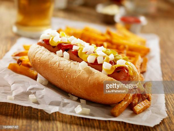 Hotdog and Fries with a Beer