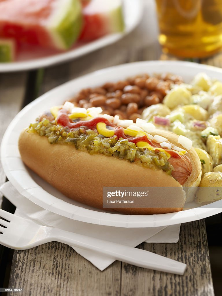 BBQ Hotdog with a Beer : Stock Photo