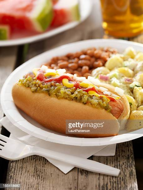 bbq hotdog with a beer - paper plate stock photos and pictures