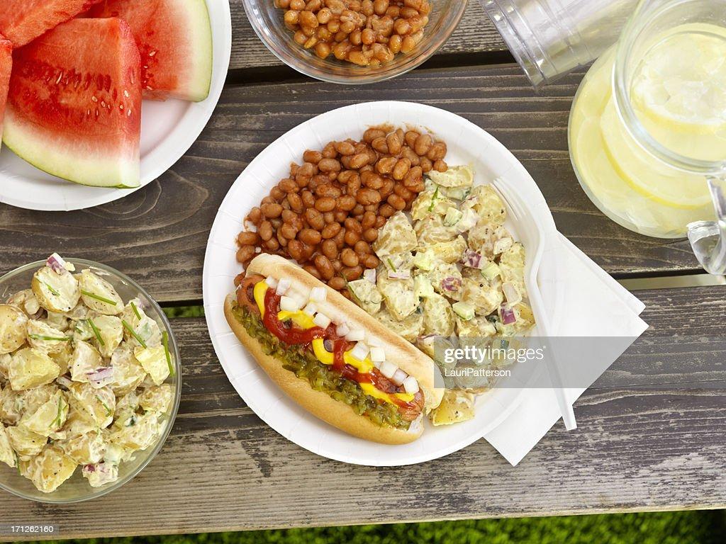 BBQ Hotdog with Lemonade : Stock Photo
