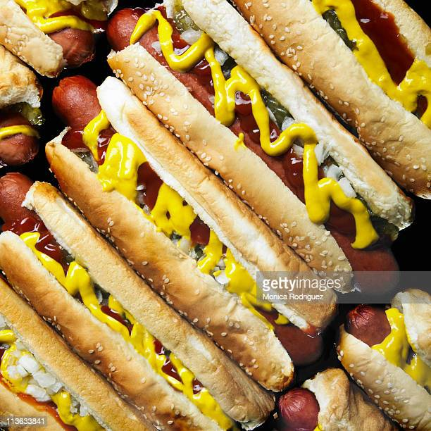hotdogs - mustard stock pictures, royalty-free photos & images
