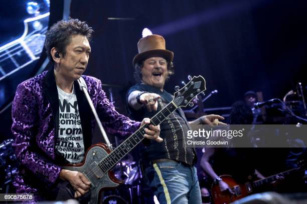 Hotei joins Zucchero on stage at the Royal Albert Hall on 21 October 2016 in London United Kingdom
