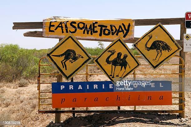 Hotel advertising in the outback, Parachilna, Flinders Ranges, South Australia, Australia