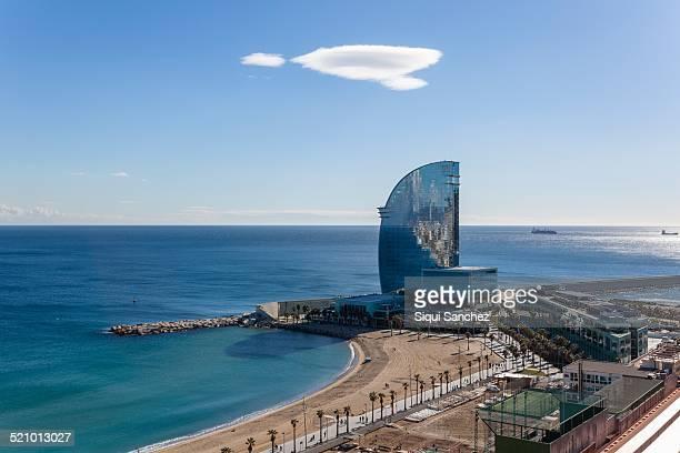 W Hotel and Barcelona coastline Barcelona Spain
