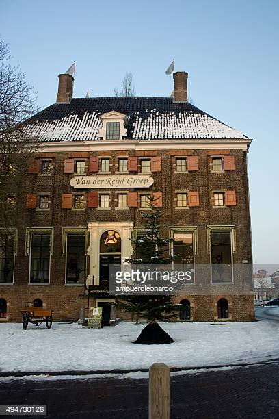 hotel and christmas tree - zwolle stock photos and pictures