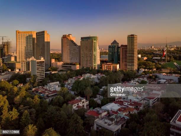 hotel area view of polanco skyline - mexico city aerial stock pictures, royalty-free photos & images