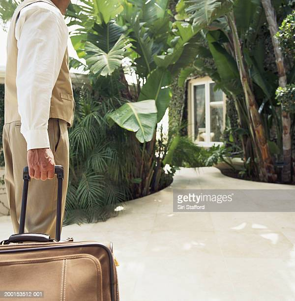 Hotel attendant pulling luggage, rear view