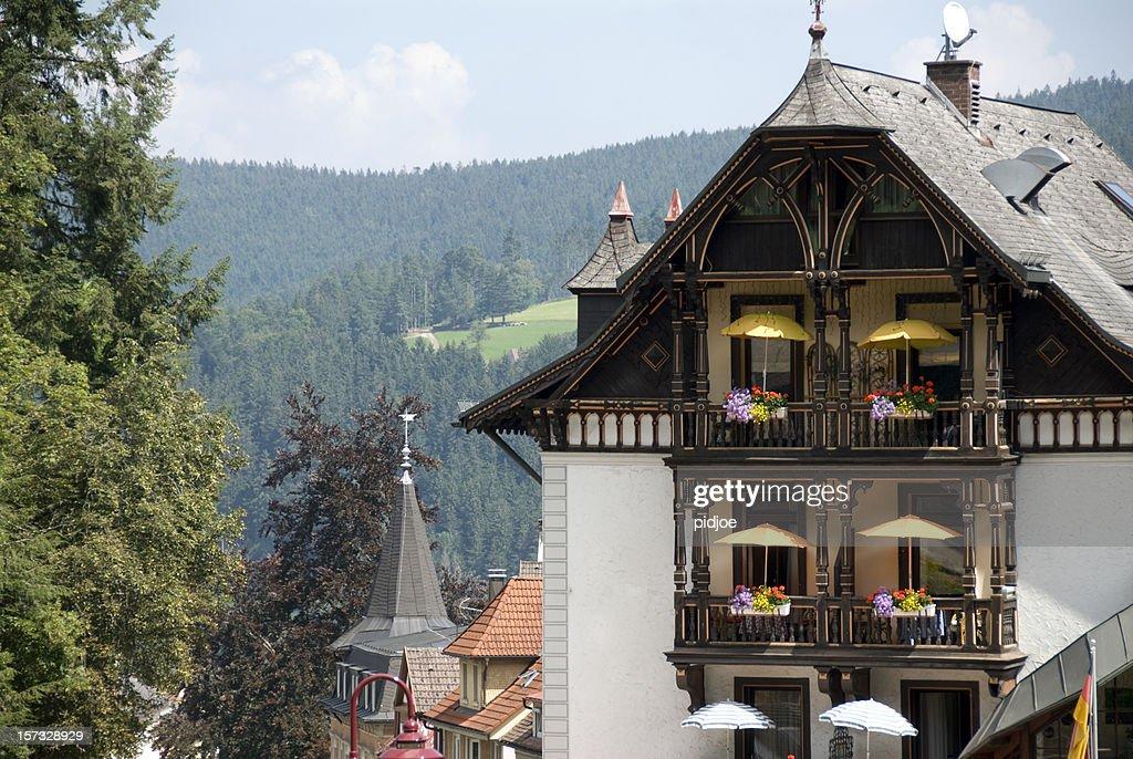 Hotel Balcony In Triberg Black Forest Germany Stock Photo
