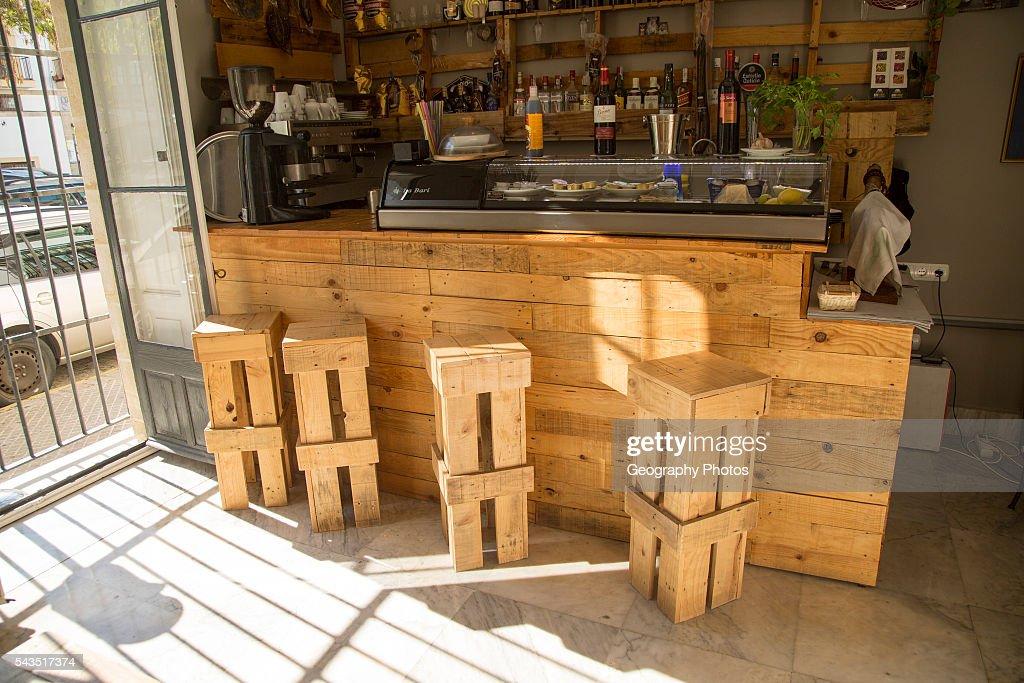Hotel Bar Furniture Made From Wooden Pallets Jerez De La Frontera Spain