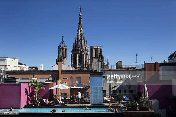 Hotel Barcelona Cathedral rooftop swimming Pool on 4th July 2016 in front of the Barcelona Cathedral Spain