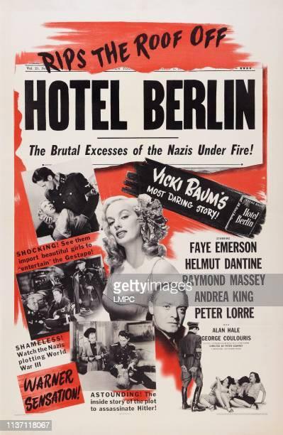 Hotel Berlin poster US poster art center Faye Emerson below Peter Lorre 1945