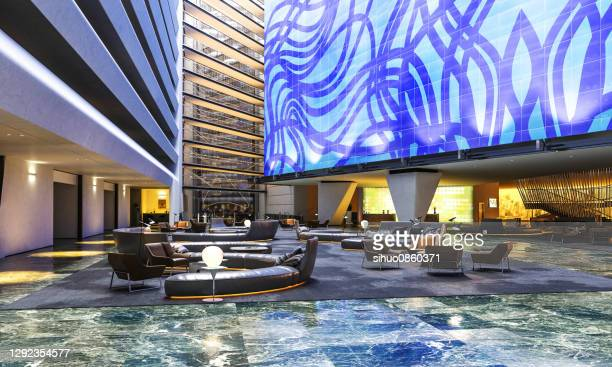 hotel blue reception lobby - building entrance stock pictures, royalty-free photos & images