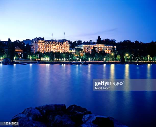 dusk view hotel beau rivage palace