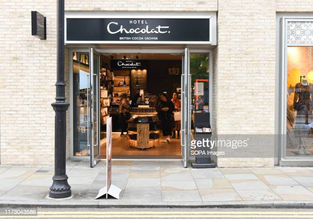 Hotel Chocolat British chocolatier shop and logo seen in East London near Spitalfields Market