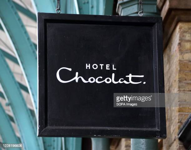 Hotel Chocolat logo seen outside their store at Covent Garden in Central London
