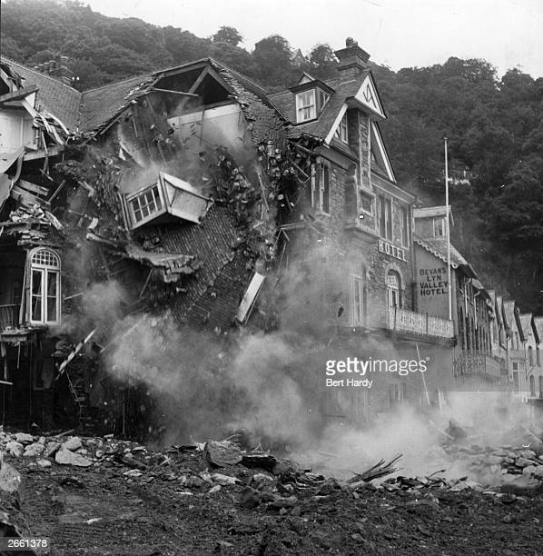 A hotel collapses after serious flooding brought chaos to Lynmouth Devon Original Publication Picture Post 6012 Lynmouth pub 1952