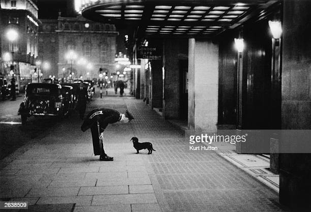 A hotel commissionaire talking to a small dachshund dog in Piccadilly Circus London Original Publication Picture Post 2 In The Heart of the Empire...