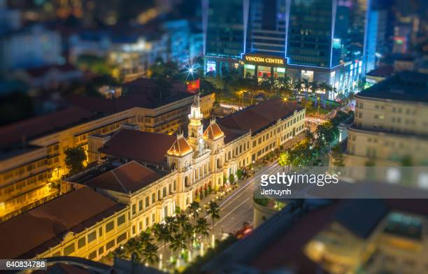 hotel de ville (ho chi minh city hall) at night aerial view - people's committee building ho chi minh city stock pictures, royalty-free photos & images