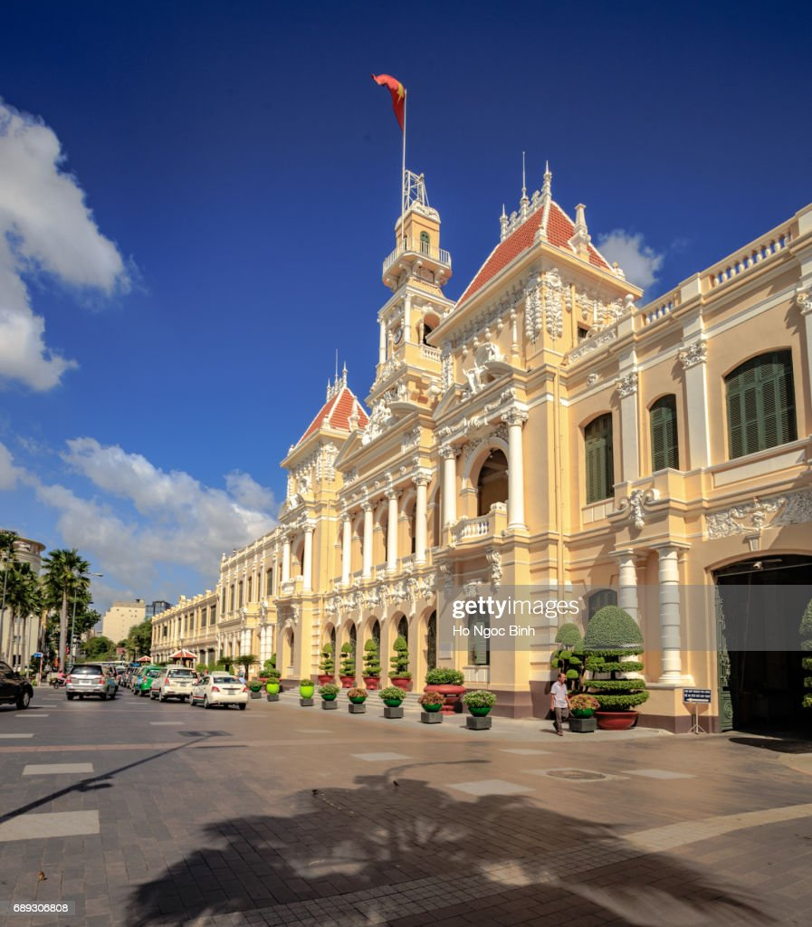 Hotel de Ville (City Hall), completed 1908, now houses Peoples Committee, Nguyen Hue Boulevard, downtown, Ho Chi Minh City (formerly Saigon), Vietnam, Indochina, Southeast Asia, Asia : Stock Photo