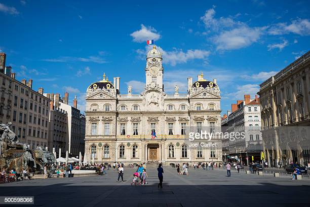 hotel de ville in lyon, france - town hall stock pictures, royalty-free photos & images