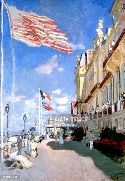 'Hotel des Roches Noires Trouville' 1870 Located in the collection at Musee d'Orsay Paris France flag promenade seaside Impressionist beach street