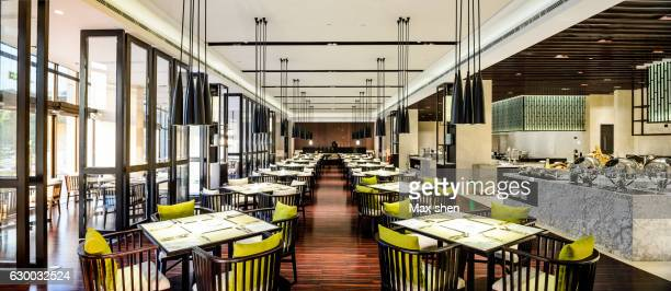 hotel dining hall interior - wide angle stock pictures, royalty-free photos & images
