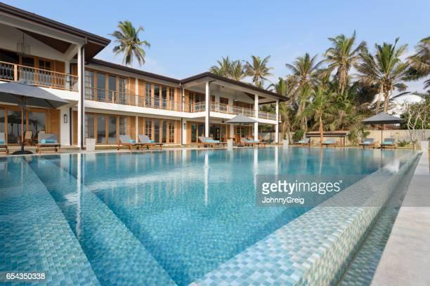 Hotel exterior with empty swimming pool, Sri Lanka