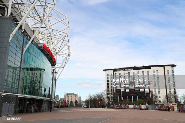Hotel Football is seen outside Old Trafford the home of Manchester United after Gary Neville announced that his hotels which he co-owns with Ryan...