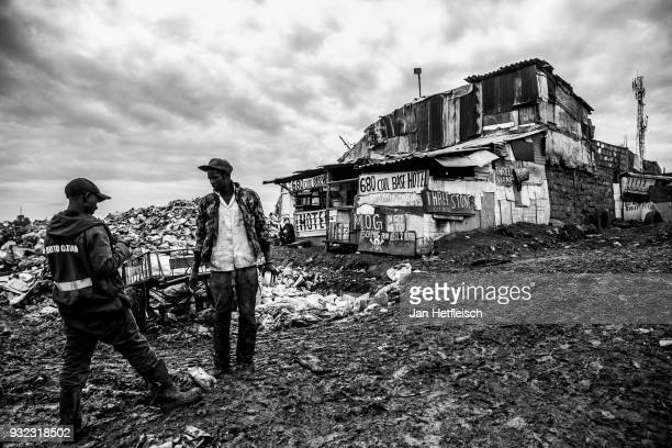 A hotel for pickers at the Dandora rubbish dump on March 14 2018 in Nairobi Kenya The Dandora landfield is located 8 Kilometer east of the city...