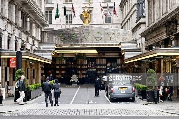 savoy hotel in london - the strand london stock pictures, royalty-free photos & images
