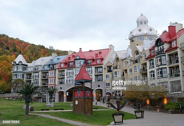 hotel in mont tremblant resort village - mont tremblant stock pictures, royalty-free photos & images