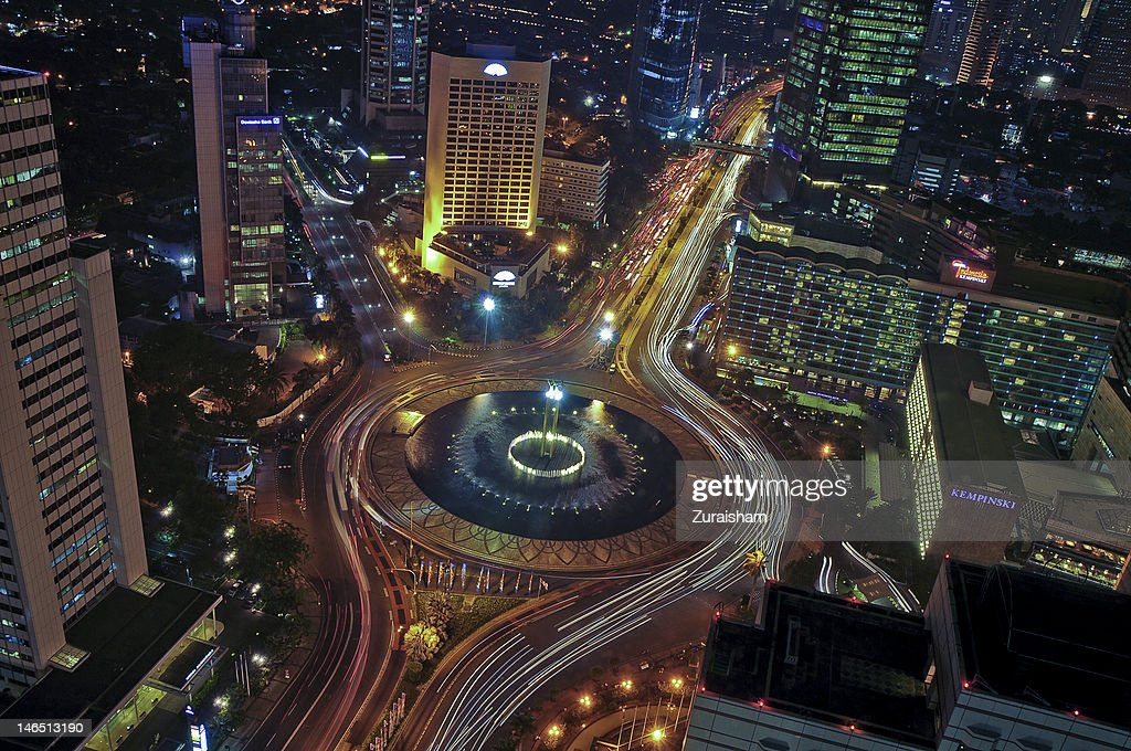 Hotel Indonesia Roundabout at night : Stock Photo